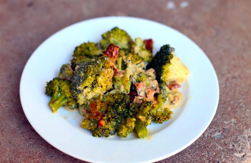 Broccoli with Bacon Shallot and Thyme dressing
