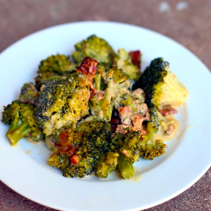 Broccoli with Bacon, Shallot and Thyme dressing