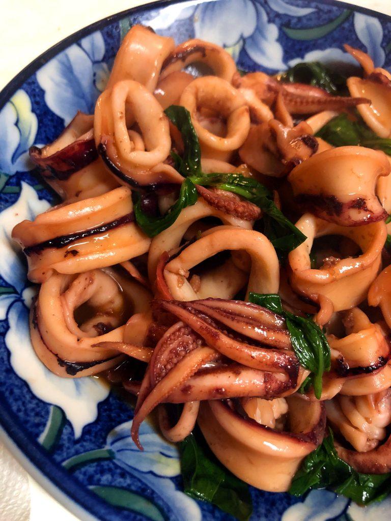Three Cup Squid Stir Fry